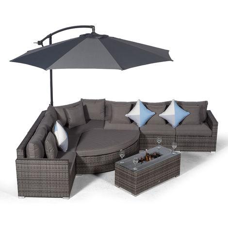 Giardino Santorini 6 Seat Grey Rattan Corner Sofa Set + Large Ice Cooler Table, Parasol + Outdoor Furniture Cover | L Shaped Outdoor Corner Sofa | Poly Rattan Garden Sofa Set + Sun Lounger & Daybed