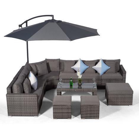 Giardino Santorini 6 Seat Grey Rattan Corner Sofa Set with 2 Stool Coffee Table + Ottoman + Parasol + Outdoor Furniture Cover | L Shaped Outdoor Corner Sofa | Patio Poly Rattan Garden Sofa Set