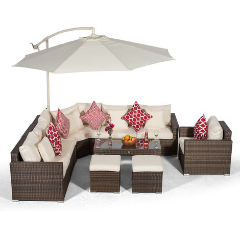 Giardino Santorini 6 Seater Brown Rattan Corner Sofa Set + Armchair + 2 Stool Coffee Table + Parasol + Outdoor Furniture Cover | L Shaped Outdoor Corner Sofa | 10 Pcs Patio Poly Rattan Garden Sofa Set