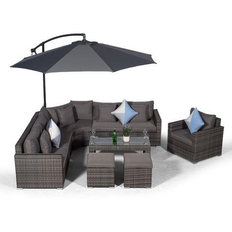 Giardino Santorini 6 Seater Grey Rattan Corner Sofa Set + Armchair + 2 Stool Coffee Table + Parasol + Outdoor Furniture Cover | L Shaped Outdoor Corner Sofa | 10 Pcs Patio Poly Rattan Garden Sofa Set
