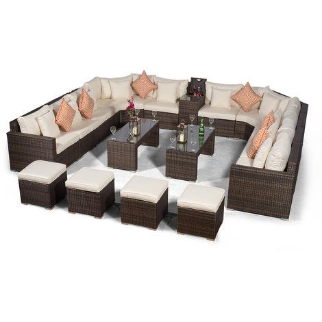 Giardino Santorini Large 10 Seater Brown Rattan Sofa Set + 2 Coffee Tables, 4 Stools + Armrest Cooler + Outdoor Rattan Furniture Cover | Modular Poly Rattan Garden Sofa Set | Outdoor Conversation Set