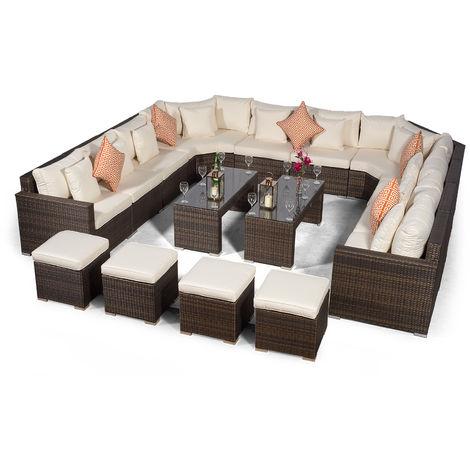 Giardino Santorini Large 10 Seater Brown Rattan Sofa Set + 2 Coffee Tables, 4 Stools + Outdoor Rattan Furniture Cover | U Shaped Modular Poly Rattan Garden Sofa Set | Outdoor Conversation Set