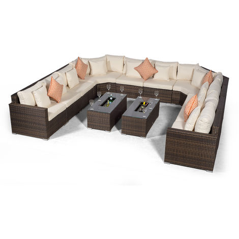 Giardino Santorini Large 10 Seater Brown Rattan Sofa Set with 2 Drinks Cooler Coffee Tables + Outdoor Rattan Furniture Cover | U Shaped Modular Poly Rattan Garden Sofa Set | Outdoor Conversation Set