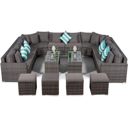 Giardino Santorini Large 10 Seater Grey Rattan Sofa Set + 2 Coffee Tables, 4 Stools + Outdoor Rattan Furniture Cover | U Shaped Modular Poly Rattan Garden Sofa Set | Outdoor Conversation Set