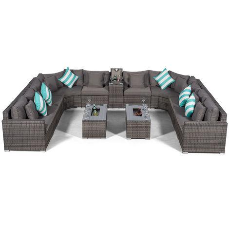 Giardino Santorini Large 10 Seater Grey Rattan Sofa Set with 2 Drinks Cooler Coffee Tables & Armrest + Outdoor Rattan Furniture Cover | Modular Poly Rattan Garden Sofa Set | Outdoor Conversation Set