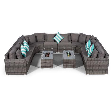 Giardino Santorini Large 10 Seater Grey Rattan Sofa Set with 2 Drinks Cooler Coffee Tables + Outdoor Rattan Furniture Cover | U Shaped Modular Poly Rattan Garden Sofa Set | Outdoor Conversation Set