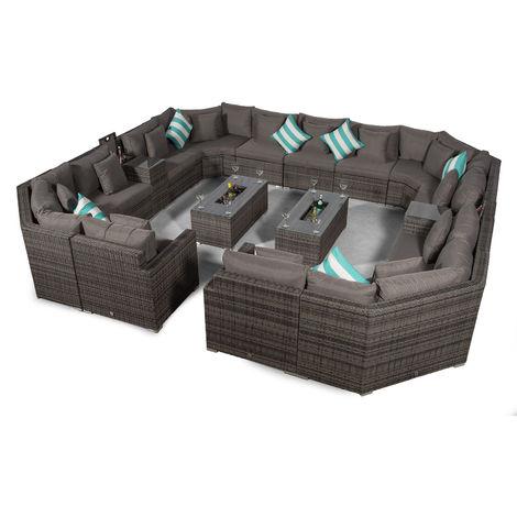 Giardino Santorini Large 13 Seater Grey Rattan Sofa Set + 2 Drinks Cooler Coffee Tables & Armrests + Outdoor Rattan Furniture Cover | Modular Poly Rattan Garden Sofa Set | Outdoor Conversation Set