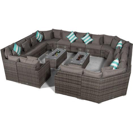Giardino Santorini Large 13 Seater Grey Rattan Sofa Set + 2 Drinks Cooler Coffee Tables & Outdoor Rattan Furniture Cover | Modular Poly Rattan Garden Sofa Set | Outdoor Conversation Set & Sun Lounger