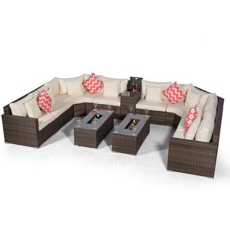 Giardino Santorini Large 8 Seater Brown Rattan Sofa Set with 2 Drinks Cooler Coffee Tables & Armrest + Outdoor Rattan Furniture Cover | Modular Poly Rattan Garden Sofa Set | Outdoor Conversation Set