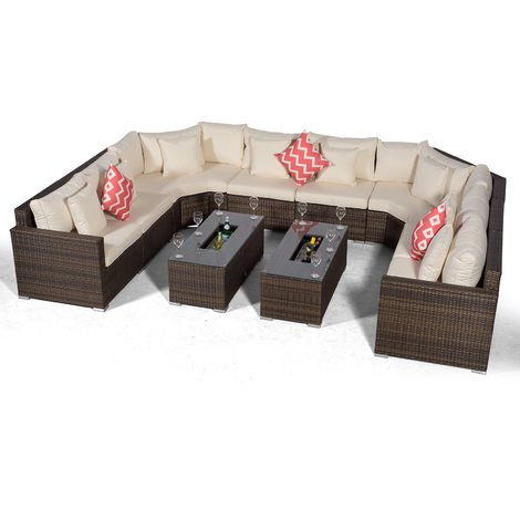 Giardino Santorini Large 8 Seater Brown Rattan Sofa Set with 2 Drinks Cooler Coffee Tables + Outdoor Rattan Furniture Cover | U Shaped Modular Poly Rattan Garden Sofa Set | Outdoor Conversation Set