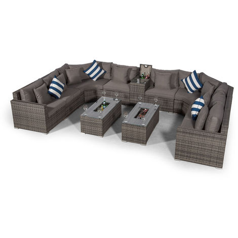 Giardino Santorini Large 8 Seater Grey Rattan Sofa Set with 2 Drinks Cooler Coffee Tables & Armrest + Outdoor Rattan Furniture Cover | Modular Poly Rattan Garden Sofa Set | Outdoor Conversation Set