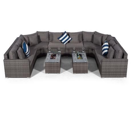 Giardino Santorini Large 8 Seater Grey Rattan Sofa Set with 2 Drinks Cooler Coffee Tables + Outdoor Rattan Furniture Cover | U Shaped Modular Poly Rattan Garden Sofa Set | Outdoor Conversation Set