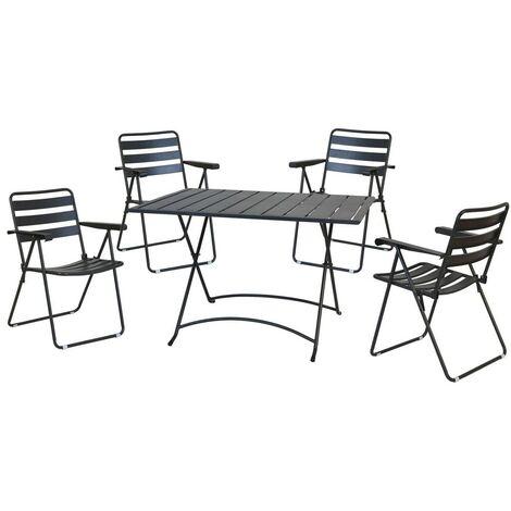Sedie Pieghevoli Giardino.Tavolo Sedie Set Pranzo Pieghevoli Giardino Acciaio