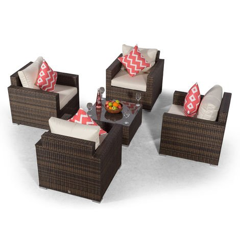 Giardino Sydney 4 Seater Brown Rattan Conversation Sofa Set   Rattan Garden 4 Seat Lounge Chair Set with Coffee Table & All Weather Furniture Covers