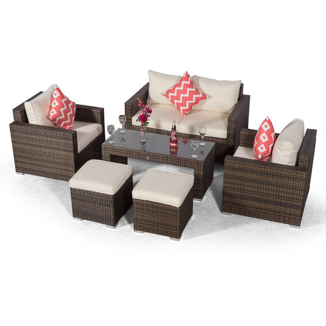 Giardino Sydney 4 Seater Brown Rattan Conversation Sofa Set with 2 Seat Sofa, 2 x Armchairs, Coffee Table & 2 Stools | 4 Seat Rattan Garden Sofa Set with All Weather Furniture Covers