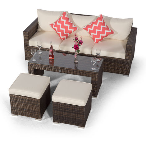 Giardino Sydney Brown Large Rattan 3 Seater Sofa Set with Coffee Table and 2 Stools | Poly Rattan Garden Sofa | Patio Outdoor Rattan Sofa with All Weather Garden Furniture Covers