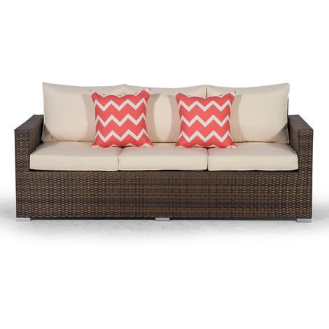 Giardino Sydney Brown Rattan 3 Seater Sofa | Large Poly Rattan Garden Sofa | Patio Outdoor Rattan Sofa with All Weather Garden Furniture Cover