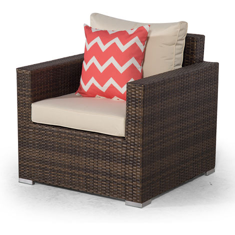 Giardino Sydney Brown Rattan Armchair | Rattan Garden Lounge Chair with Outdoor Furniture Cover