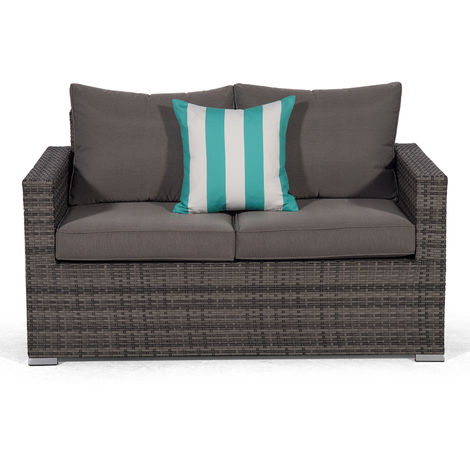 Giardino Sydney Grey Rattan 2 Seater Loveseat Sofa | Poly Rattan Garden Sofa | Patio Outdoor Rattan Loveseat with All Weather Garden Furniture Cover