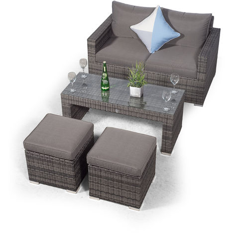 Giardino Sydney Grey Rattan 2 Seater Loveseat Sofa Set with Coffee Table and 2 Stools | Poly Rattan Garden Sofa | Patio Outdoor Rattan Loveseat with All Weather Garden Furniture Cover