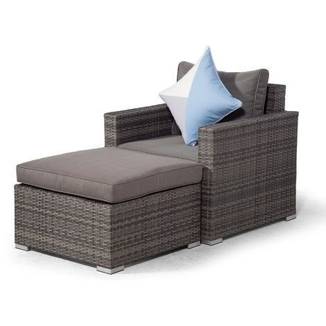 Giardino Sydney Grey Rattan Armchair & Ottoman Lounge Chair Set | Rattan Garden Lounge Chair Set with All Weather Furniture Covers