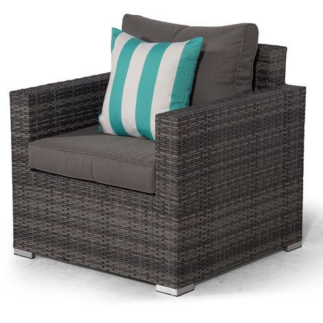 Giardino Sydney Grey Rattan Armchair | Rattan Garden Lounge Chair with Outdoor Furniture Cover