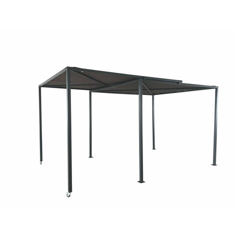 Gibara - Pergola coulissante avec roues 5,5x2,5M - Gris & taupe