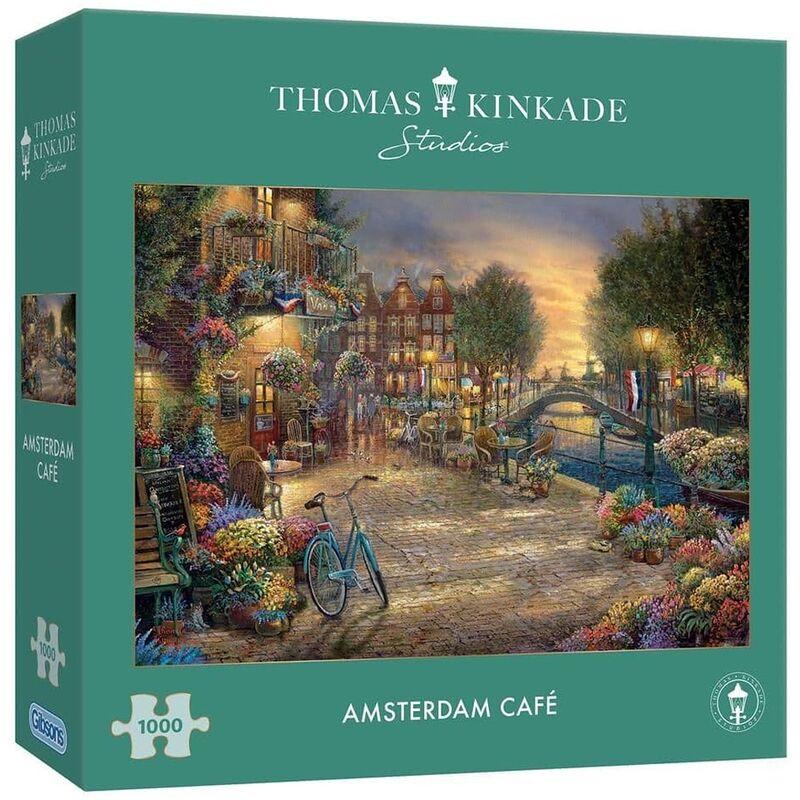 Image of Gibsons 1000 Piece Kinkade Amsterdam Cafe Jigsaw Puzzle