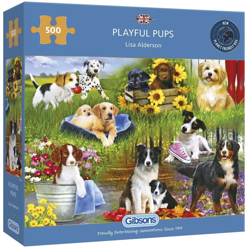 Image of Gibsons 500 Piece Playful Pups Jigsaw Puzzle
