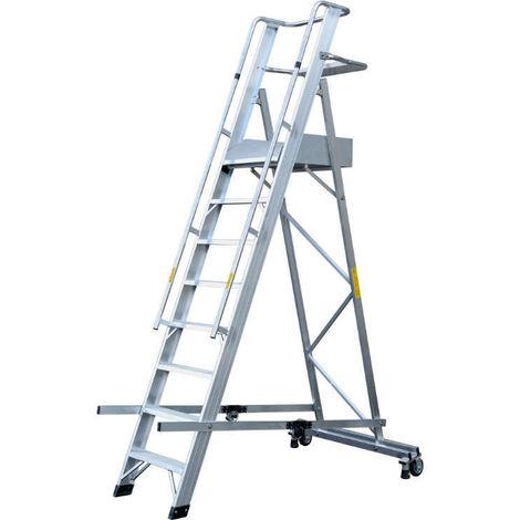 GIERRE ALP10 - Escalera de aluminio con plataforma Eterna (10 peldaños)