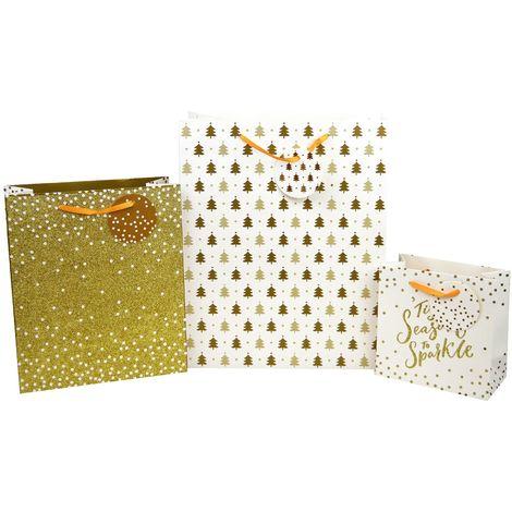 3 Gift Bags Set Christmas Xmas Presents Tag Small Medium Large Festive Gold