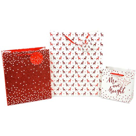 3 Gift Bags Set Christmas Xmas Presents Small Medium Large Festive Red Glitter