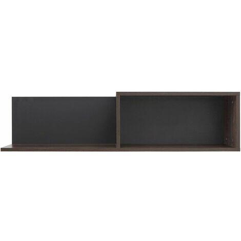 GIGGI - Tablette murale style moderne salon/chambre d'ado - 102.5x25.5x22 - 2 tiroirs - Tablette suspendue - Brun