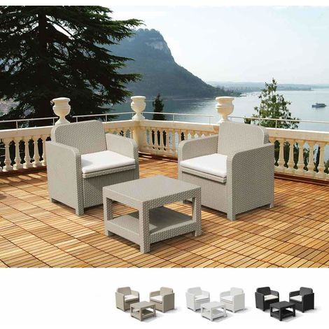 GIGLIO Garden Plastic Lounge Set 2 Armchairs and 1 Coffee Table
