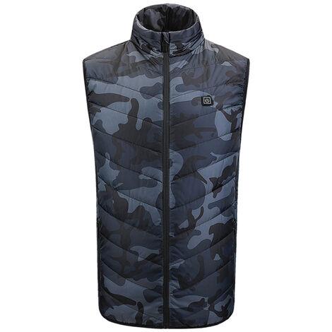 Gilet Chauffant Exterieur Usb Charge Combinaison Chauffante En Fibre De Carbone, Camouflage Vert Armee, Taille 4Xl