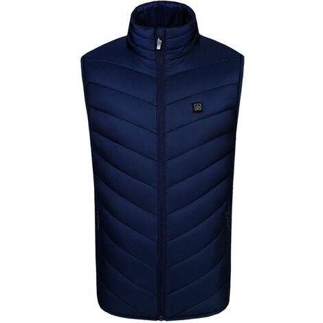 Gilet Chauffant Exterieur Usb Chargeant Des Vetements Chauffants En Fibre De Carbone, Bleu, Taille 2Xl