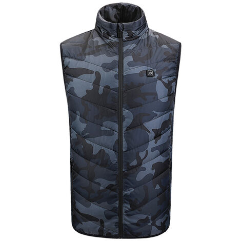 Gilet Chauffant Exterieur Usb Chargeant Des Vetements Chauffants En Fibre De Carbone, Camouflage Vert Armee, Taille Xl