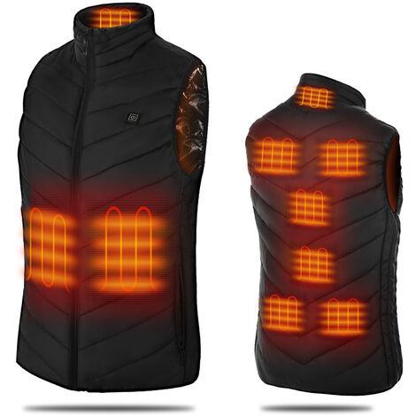 Gilet chauffant intelligent avec interface USB pour hommes et femmes, gilet chauffant ¨¦lectrique thermostatique en coton