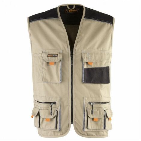 Gilet multi poches SMART beige-noir KAPRIOL - plusieurs modèles disponibles