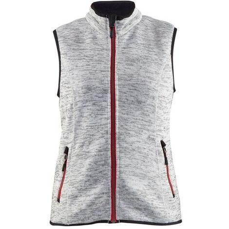 Gilet sans manches tricoté femme - 9056 Gris chiné/rouge - Blaklader