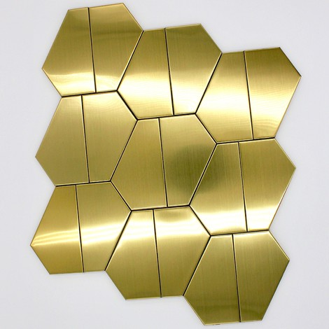 gilt stainless steel tile wall and floor cedar-gold