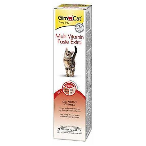 GimCat Pâte multivitaminée Extra pour chat - Complément alimentaire riche en nutriments pour renforcer les défenses naturelles - Tube de 200 g