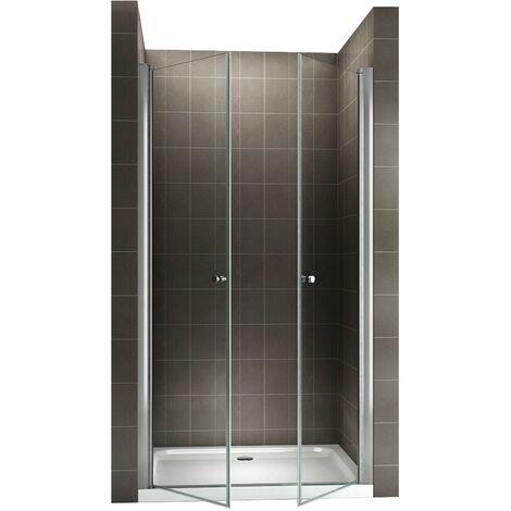 GINA Porte de douche H 195 cm largeur réglable 116-120 cm transparent