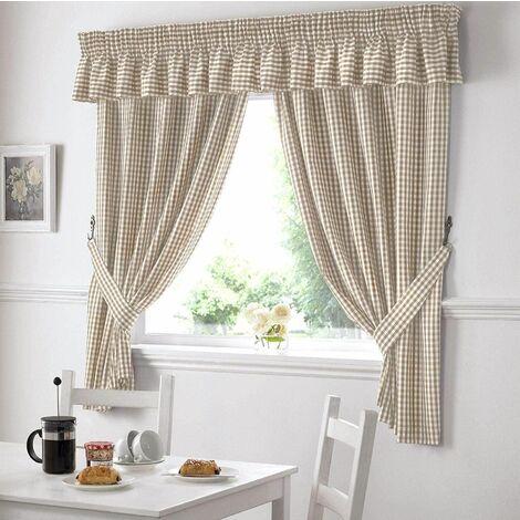 """Gingham Kitchen Curtains Beige 46 x 48"""""""