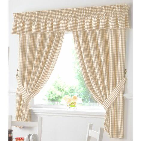"""Gingham Kitchen Curtains Beige Pelmet 136 x 10"""""""