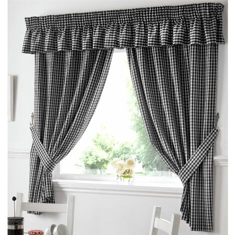 Gingham Kitchen Curtains Black Pelmet
