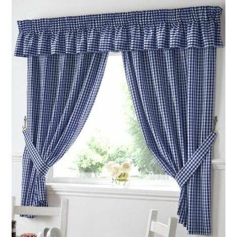 "Gingham Kitchen Curtains Blue 46 x 48"""