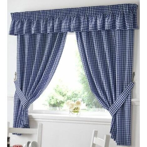 "Gingham Kitchen Curtains Blue Pelmet 136 x 10"""