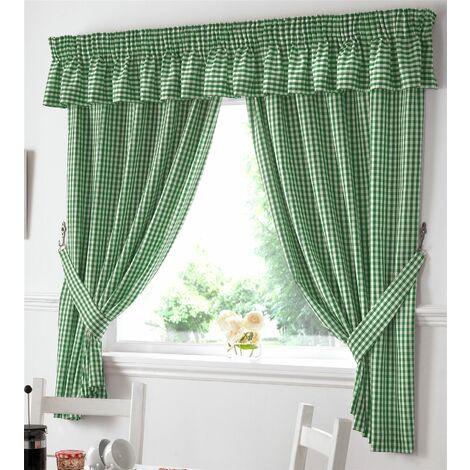 "Gingham Kitchen Curtains Green Pelmet 136 x 10"""