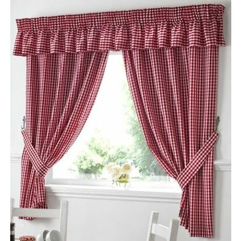 "Gingham Kitchen Curtains Red Pelmet 136 x 10"""